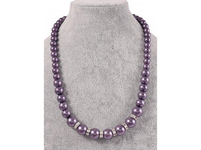 Náhrdelník z umělých perel a štrasové ozdoby