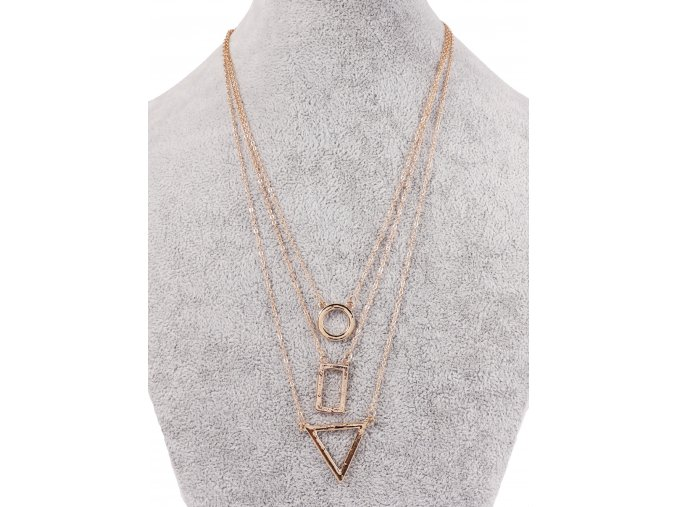 Trojitý řetízkový náhrdelník ve zlaté barvě