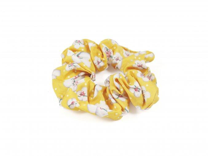 Látková gumička do vlasů s potiskem květů