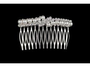 Kovový hřebínek do vlasů s kamínky a perličkami