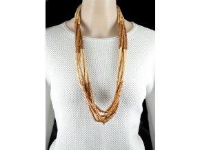 Dlouhý náhrdelník z dřevěných korálků