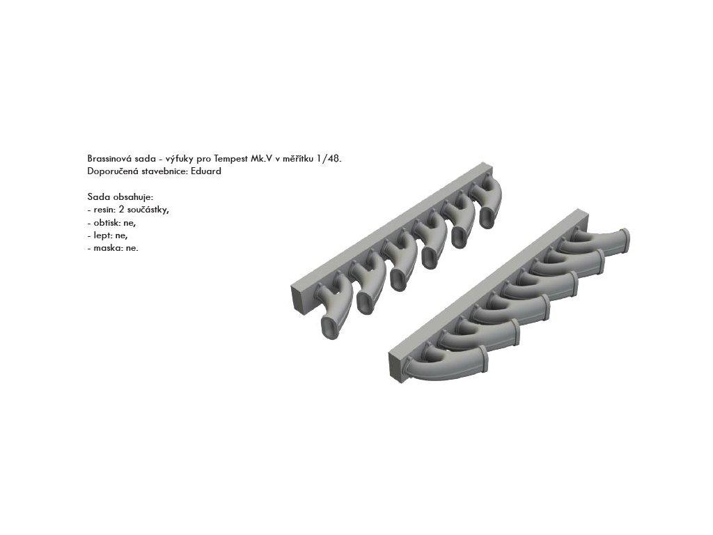 EDU648418 Tempest Mk.V exhaust stacks 1 48 Eduard