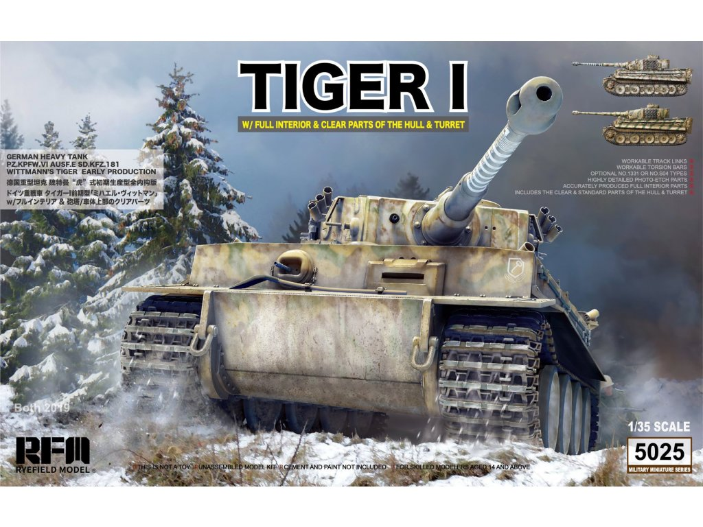 RFM5025 Tiger I w full interior, clear parts of the hull, turret Wittmann