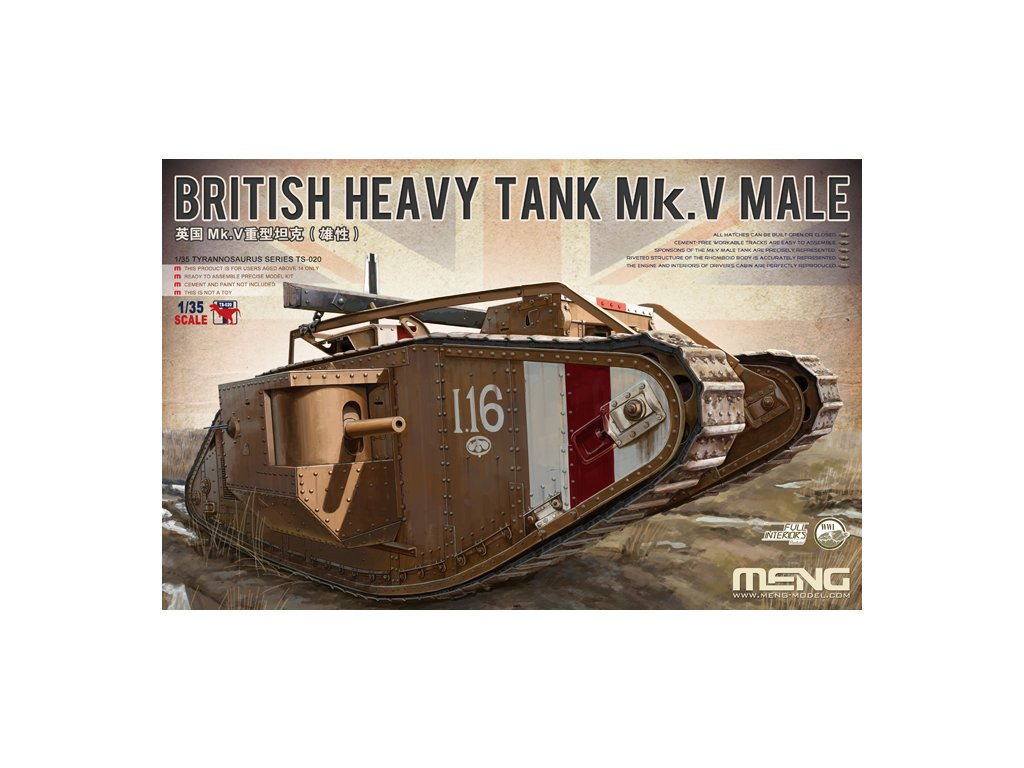 MENTS 020 British heavy tank Mk.V MALE