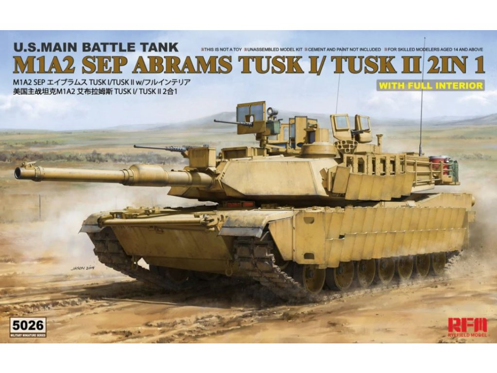RM 5026 M1A2 SEP Abrams TUSK I TUSK II with full interior