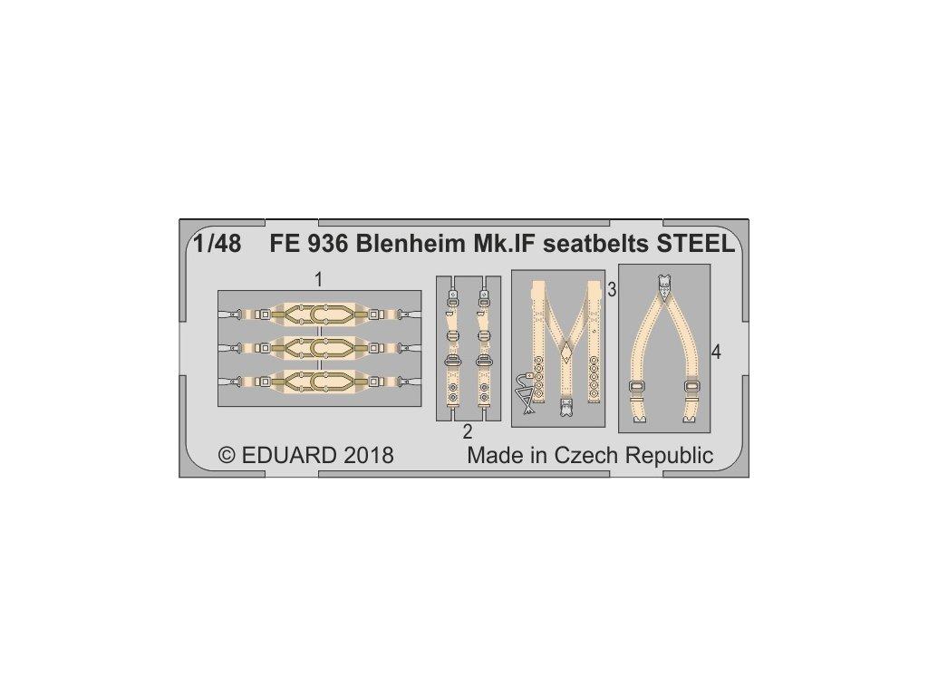 FE936 Blenheim Mk.IF seatbelts steel 1 48 Airfix