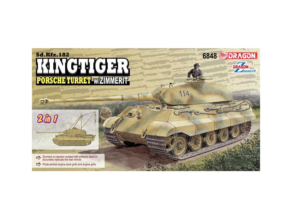 Model Kit tank 6848 - Sd.Kfz.182 Kingtiger Porsche Turret w/Zimmerit (2 in 1) (1:35)