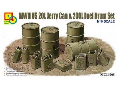 CLS16008 US WWII 20L Jerry Can & 200L Fuel Drum set