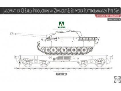 TAK2125X Jagdpanther G1 Early Production w Zimmerit & Schwerer Plattformwagen Type SSys