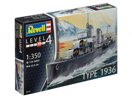 Plastic ModelKit loď 05141 - German Destroyer Type 1936 (1:350)