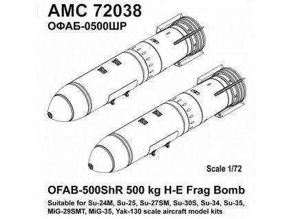 72038 1 72 OFAB 500ShR 500kg H E Frag Bomb (2 pcs.)