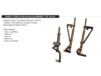 648521 P 38F G undercarriage legs BRONZE 1 48 Tamiya