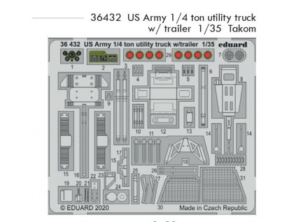 36432 US Army 1 4 ton utility truck with trailer 1 35 Takom