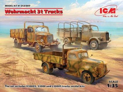 ICM DS3507 1 35 Wehrmacht 3t Trucks DIORAMA SET (3 kits)