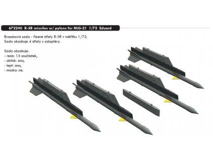 672240 R 3R missiles w pylons for MiG 21 1 72 Eduard