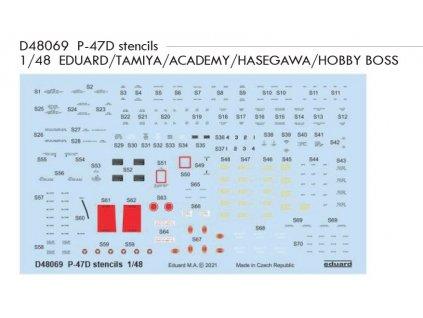 D48069 P 47D stencils 1 48 EDUARD TAMIYA ACADEMY HASEGAWA HOBBY BOSS