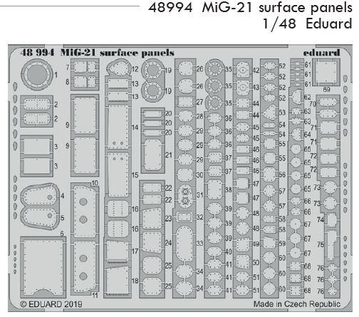 1/48 MiG-21 surface panels lept (Eduard)