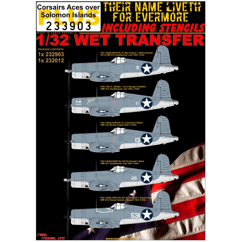 1/32 F4U-1 Corsairs Aces over Solomon Islands + STENCILS