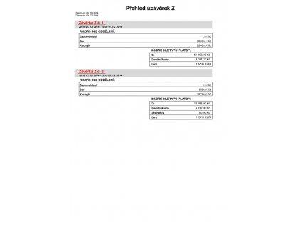 Tisková sestava Přehled uzávěrek