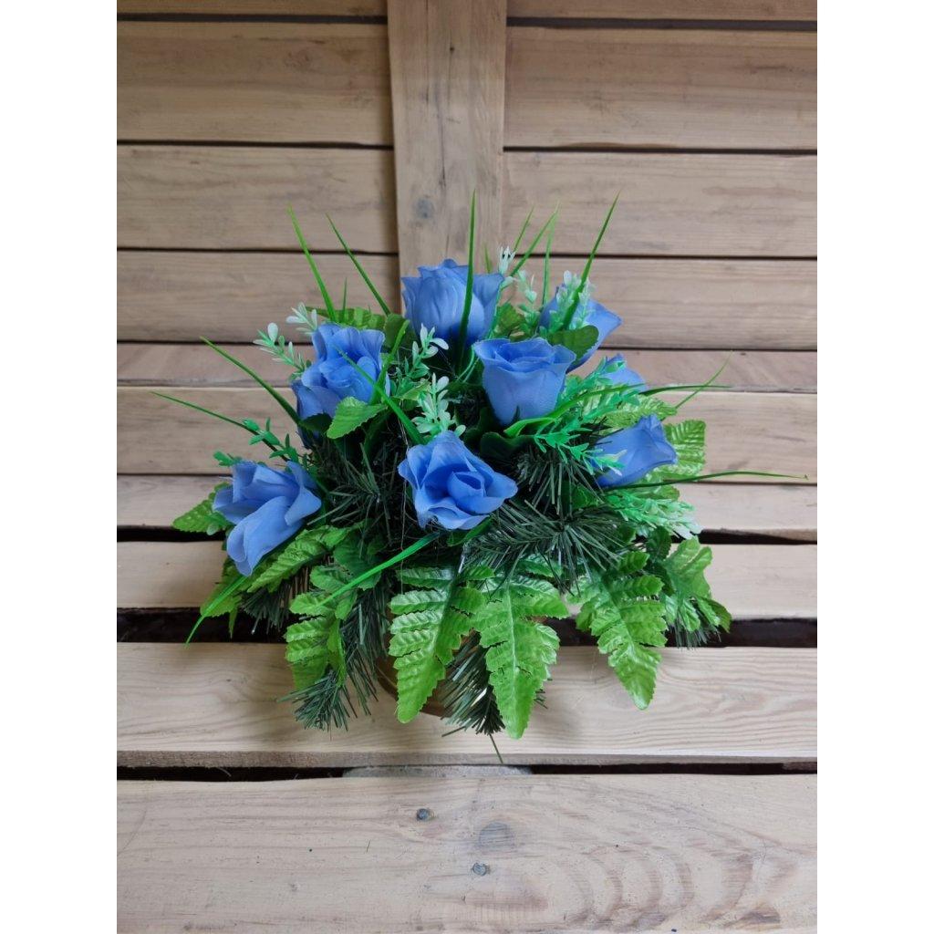 Náhrobná ikebana guľka ruža mix farby, 11402/MOD - Modrá