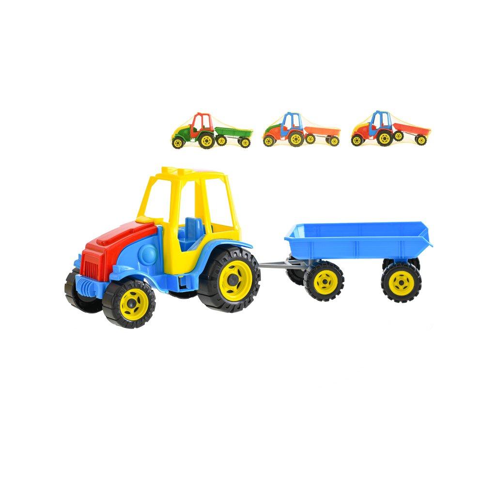 Traktor s vlekom Titan 41cm voľný chod 4farby v sieťke