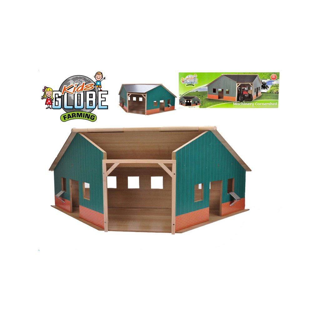 Garáž/farma drevená 40,5x100x38cm 1:16 v krabičce