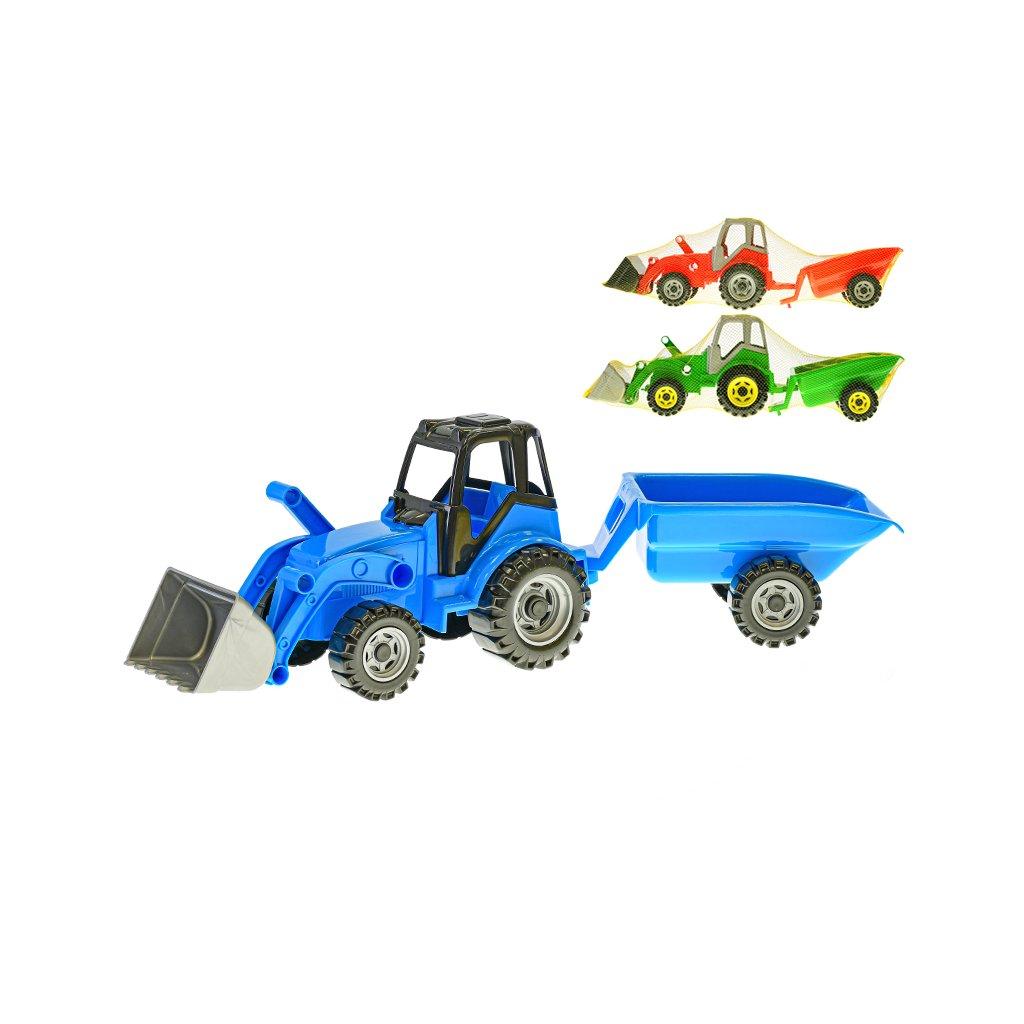 Traktor s vlečkou a nakladačom 60cm 3farby v sieťke