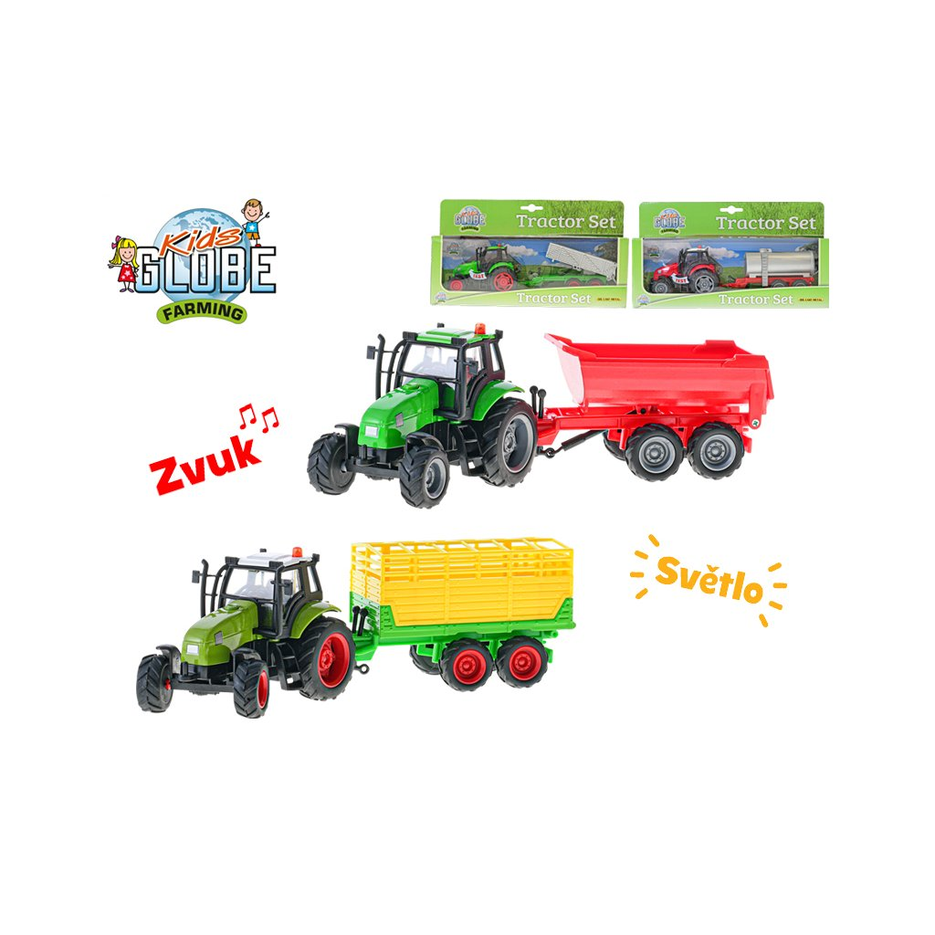 Traktor kov s vlečkou 25cm na batérie so svetlom a zvukom 4druhy v krabičke