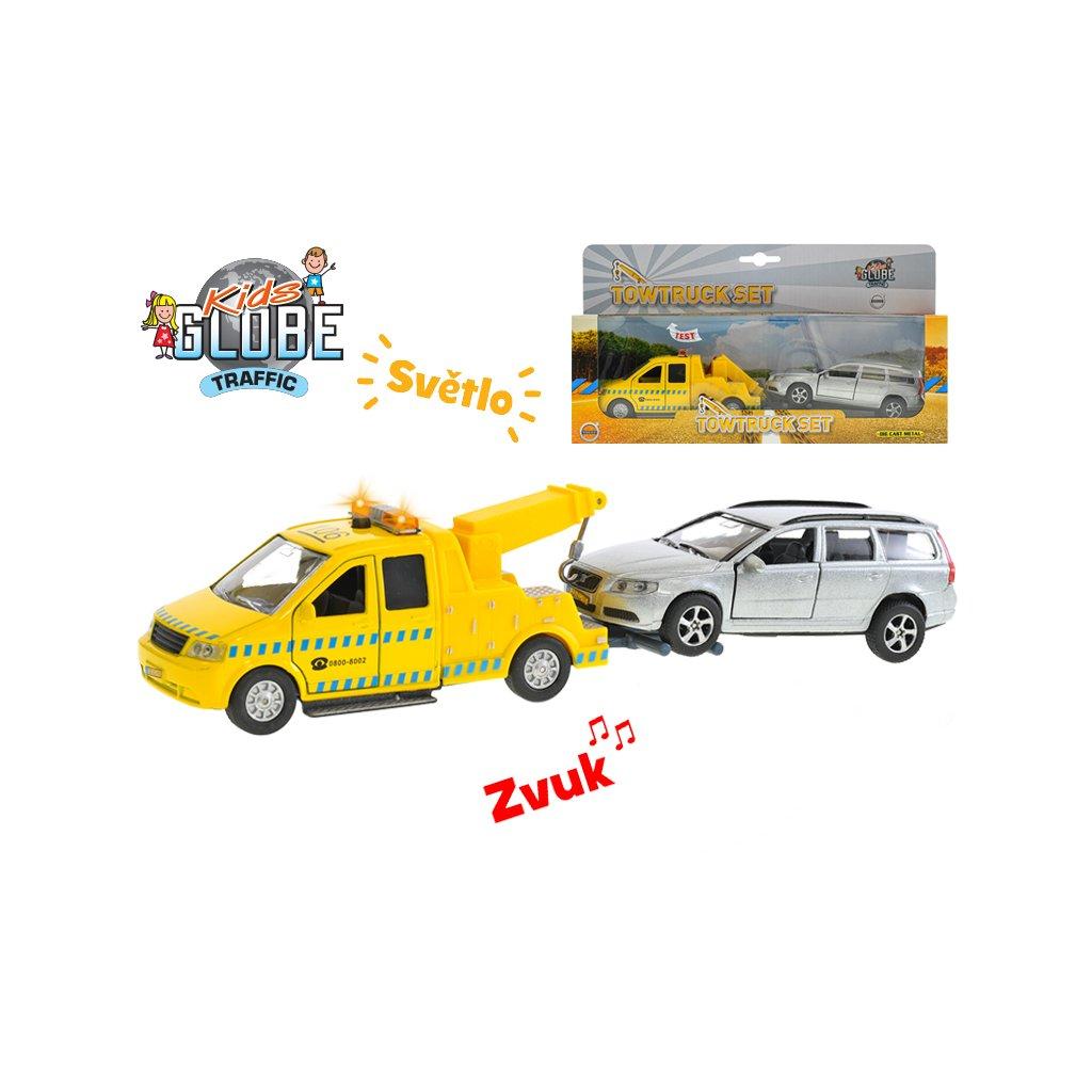 Auto kov 14cm na spätný chod na batérie so svetlom a zvukom s prívesom + Volvo V70 13cm v krabičke
