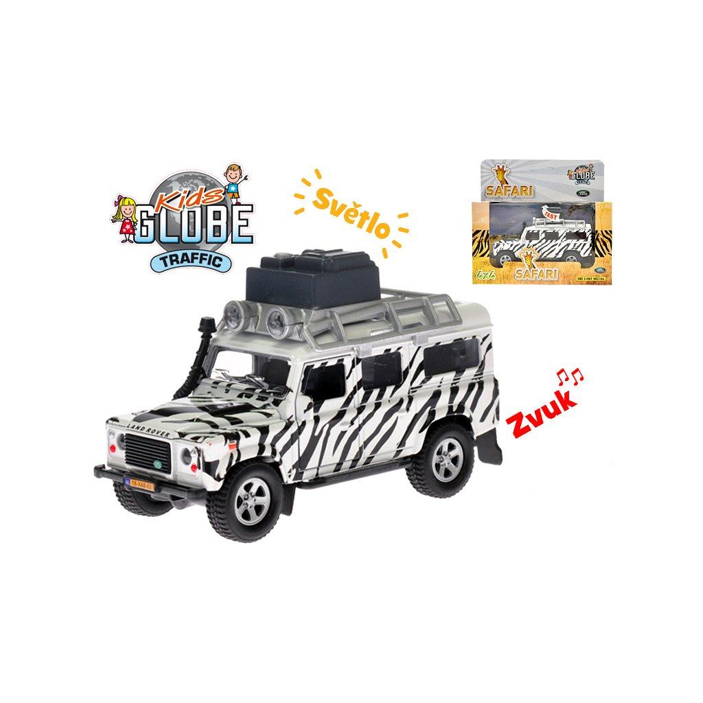Auto Land Rover safari 14cm kov na spätný chod na batérie so svetlom a zvukom v krabičke