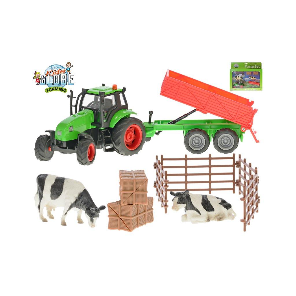 Súprava farma - traktor 10cm s vlekom na batérie so svetlom a zvukom a doplnky 2druhy v krabičke