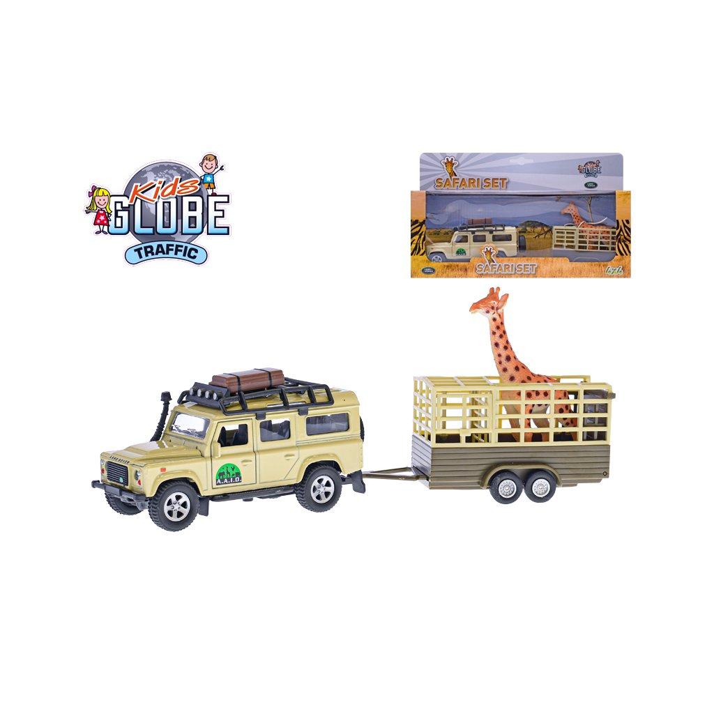 Land Rover Defender 14cm kov na spätný chod s prívesom 14cm a žirafa v krabičke