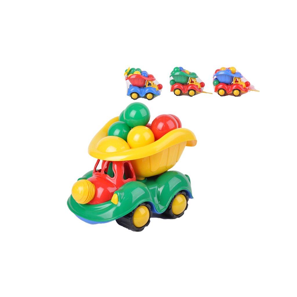 Auto nákladné 34cm s loptičkami do hracích kútov 4farby v sieťke