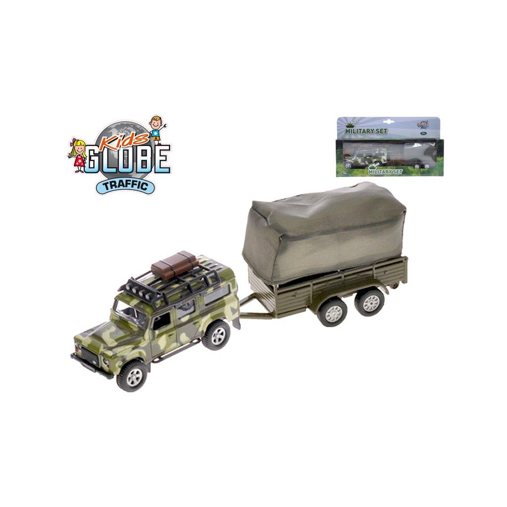 Auto Land Rover Defender Military 14,5cm kov spätný chod s prívesom s plachtou v krabičke