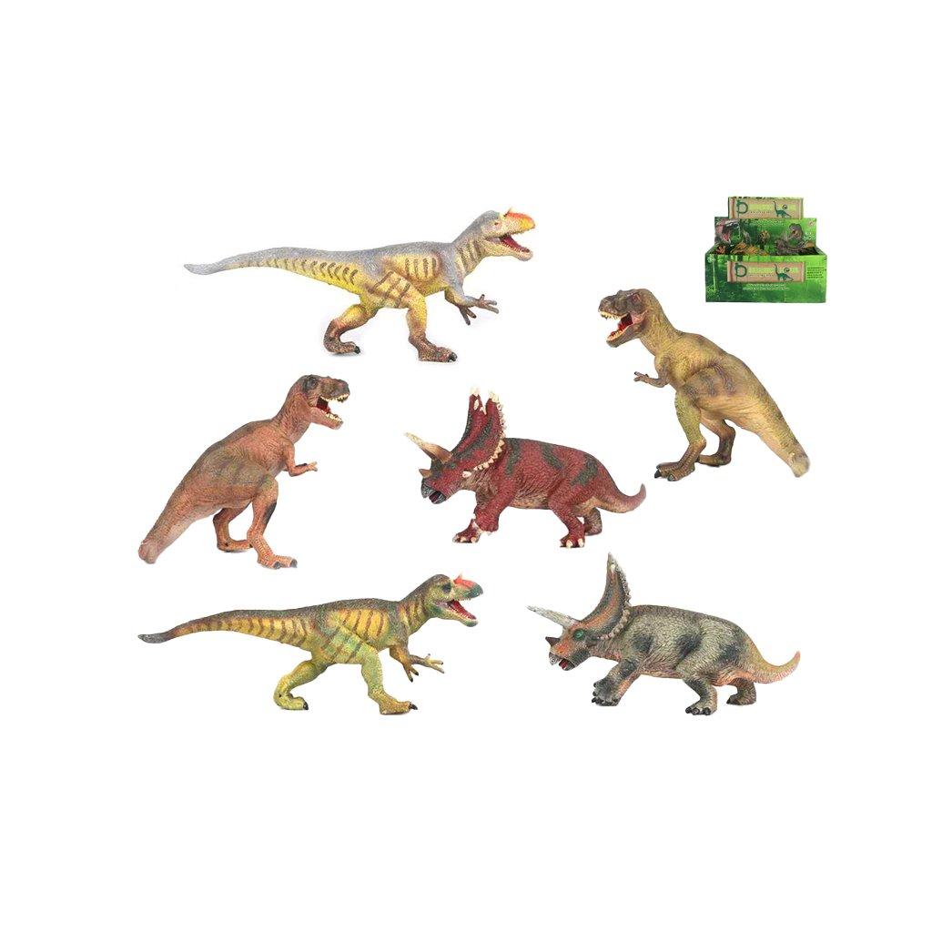 Dinosaurus 20-30cm 3druhy 2farby 6ks v DBX