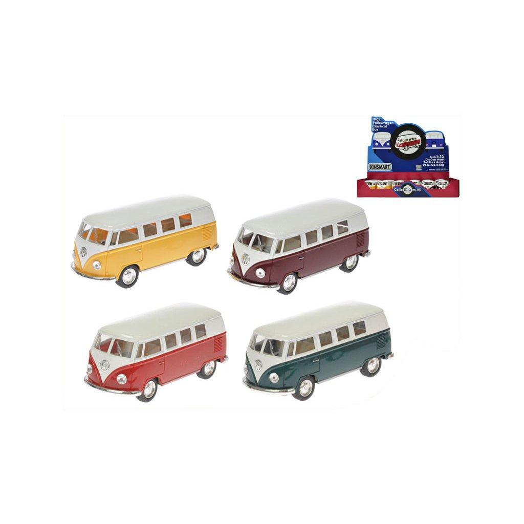Autobus Volkswagen 1:32 13cm kov spätný chod 4 farby 12ks v DBX