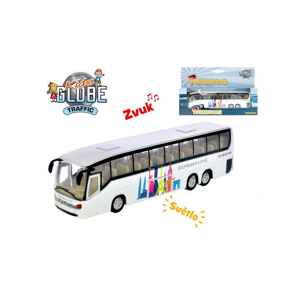 Autobus 19cm kov na spätný chod na batérie so svetlom a zvukom v krabičke
