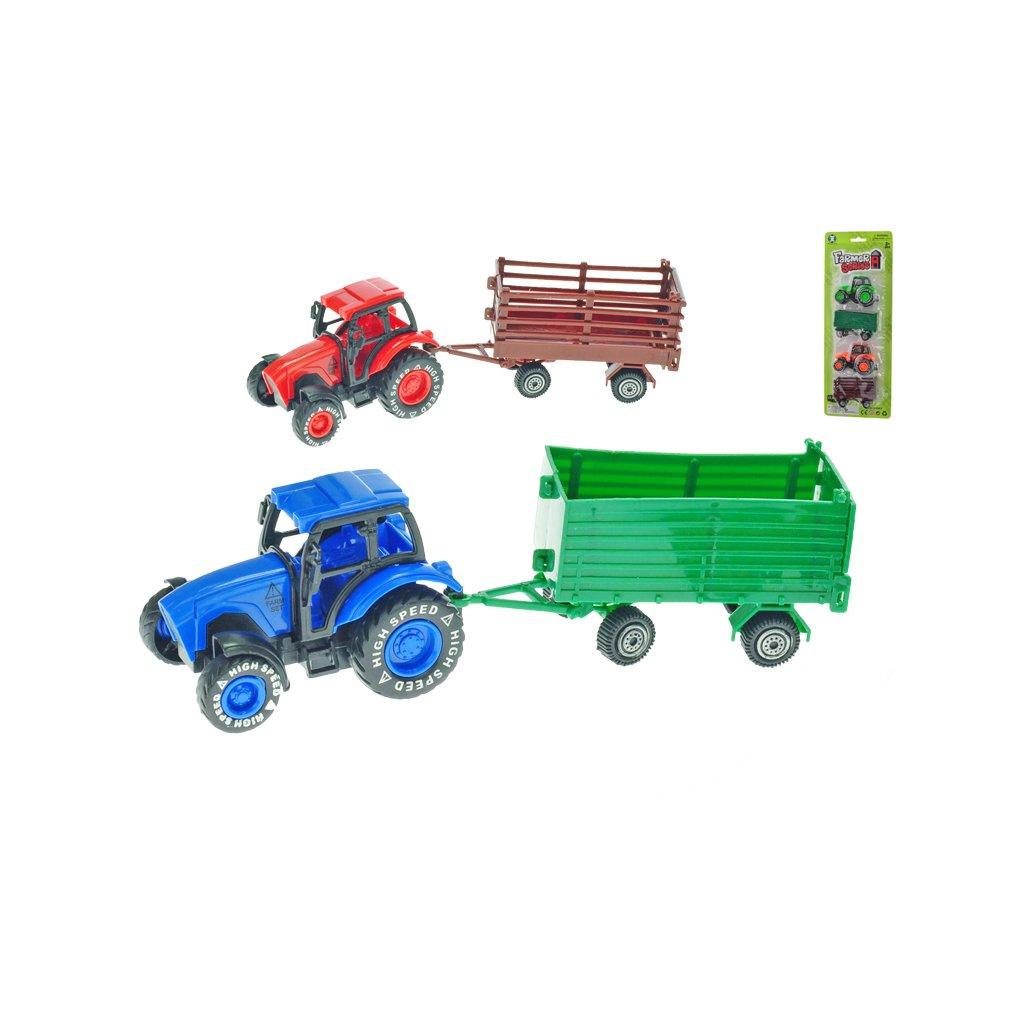 Traktor 8,5cm spätný chod 2ks s vlečkami 2farby na karte