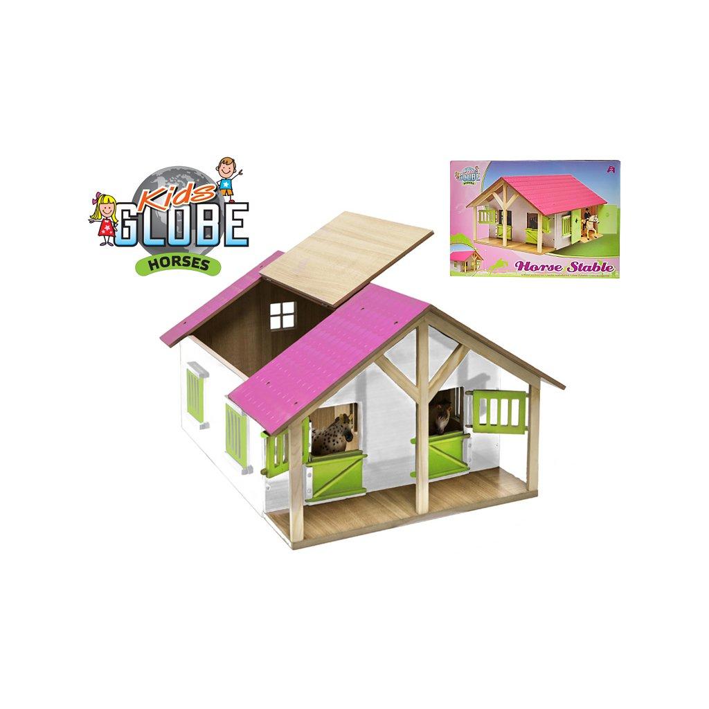 Stajňa pre kone drevená 51x40,5x27,5cm rúžová 1:24 v krabičke