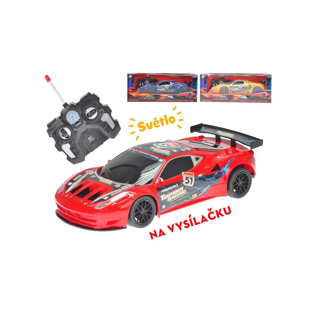 R/C auto športové 23cm plné funkcie na batérie so svetlom 40MHz 3farby v krabičke