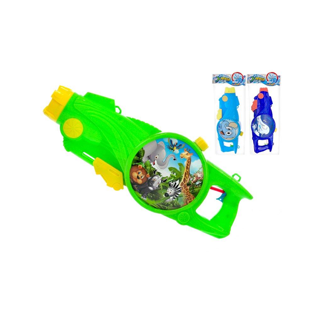 Vodná pištol so zvieratkom 48cm 3farby v sáčku