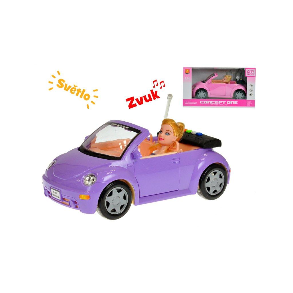Auto kabriolet 28cm s bábikou 23cm na batérie so svetlom a zvukom 2farby v krabičke