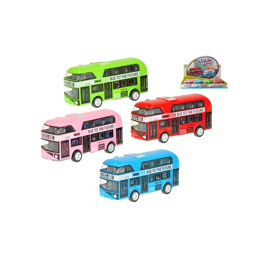 Autobus dvojposchodový 10cm kov spätný chod 4farby 12ks v DBX