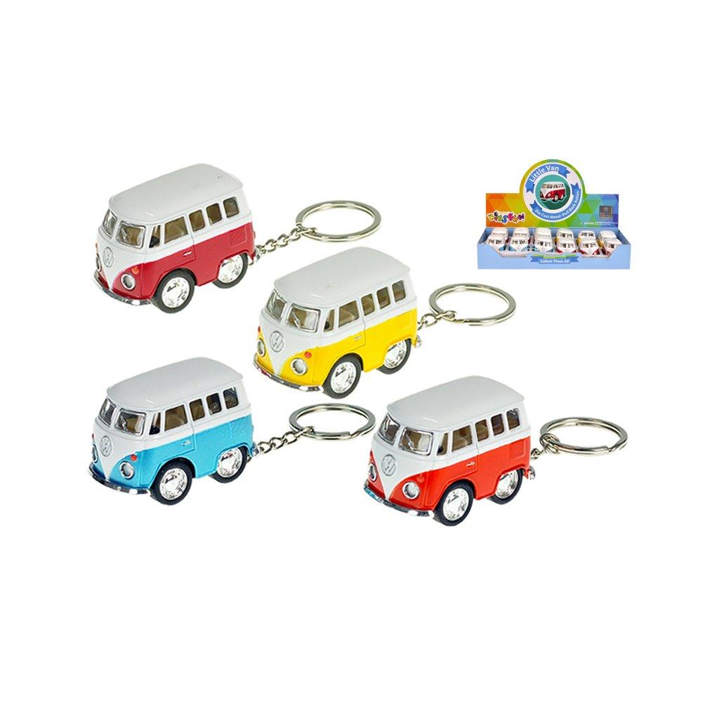 Prívesok na kľúče 5cm Volkswagen mikrobus kov spätný chod 4farby