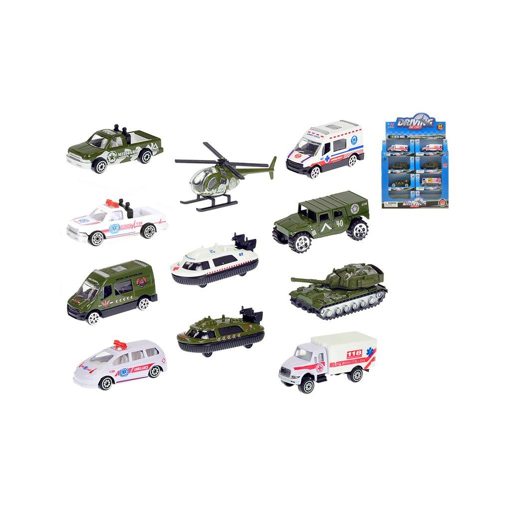 Vozidla vojenské/ambulancia 7-8cm kov 1:64 voľný chod 12druhov v krabičke 24ks v DBX