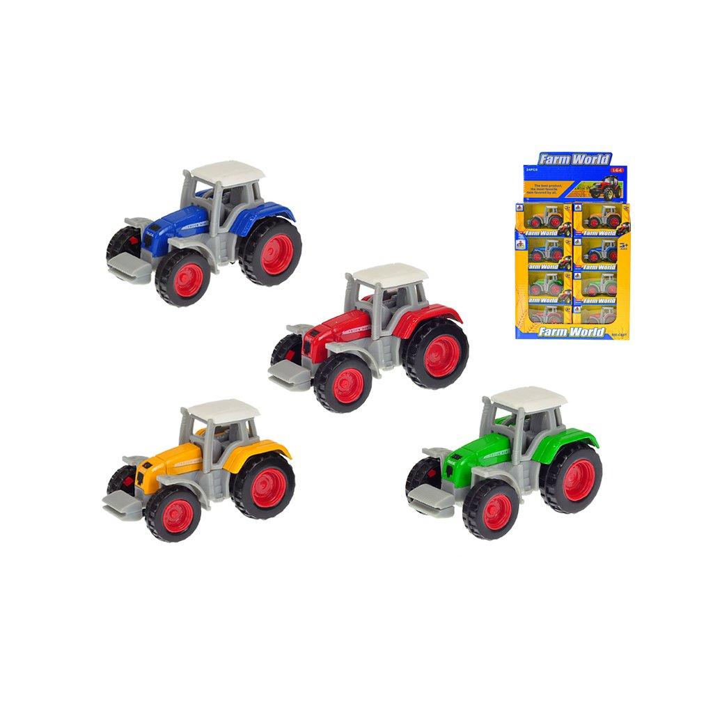 Traktor 7cm kov 1:64 voľný chod 4farby v krabičke