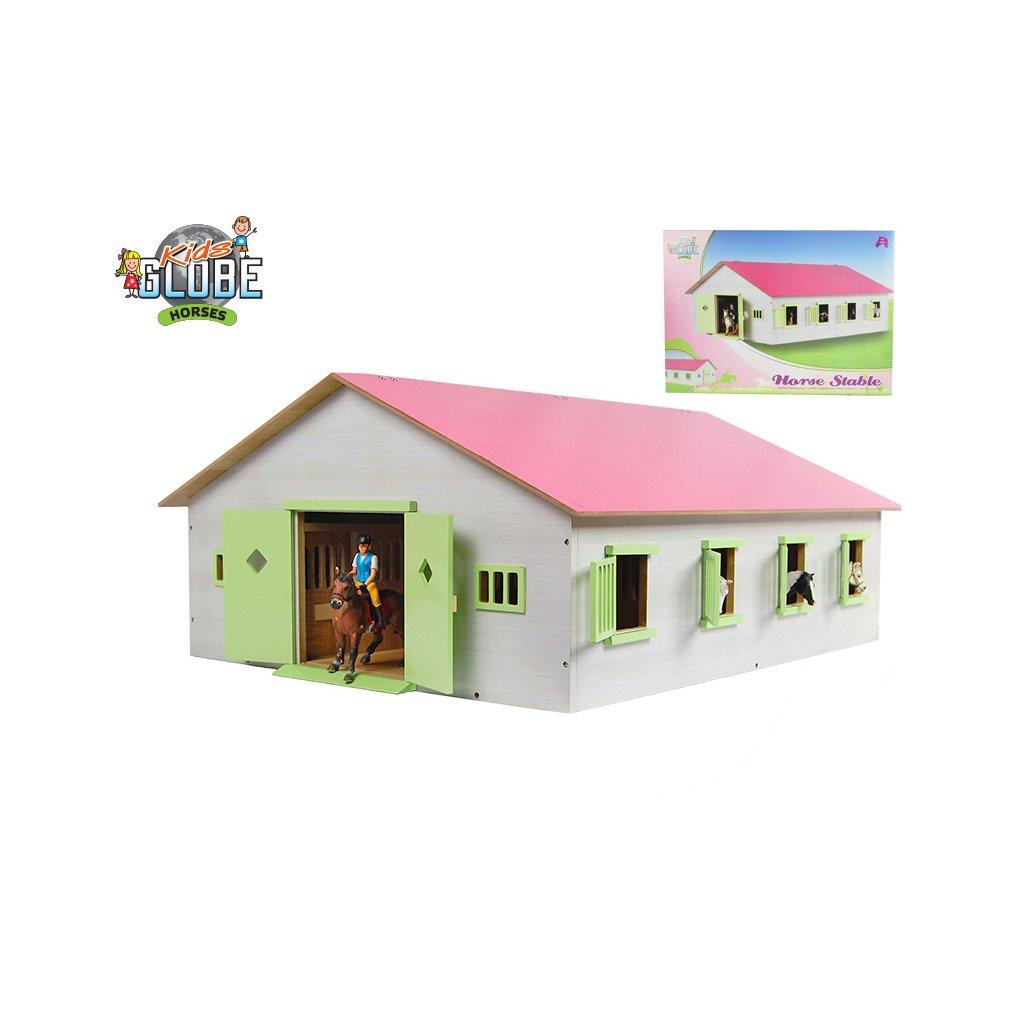 Stajňa pre kone drevená 72,5x38x60cm rúžová v krabičke