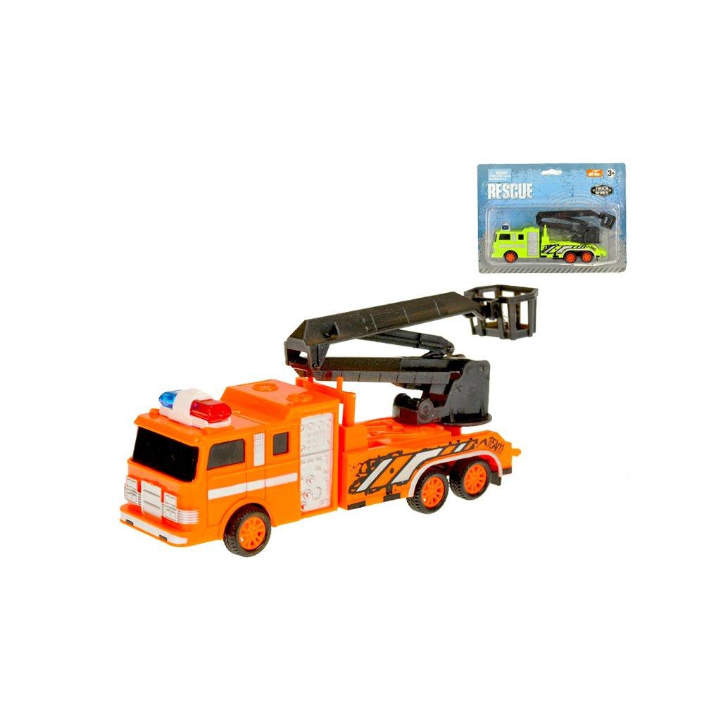 Auto záchranárske 19cm s výsuvnou plošinou na zotrvačník 2farby na karte