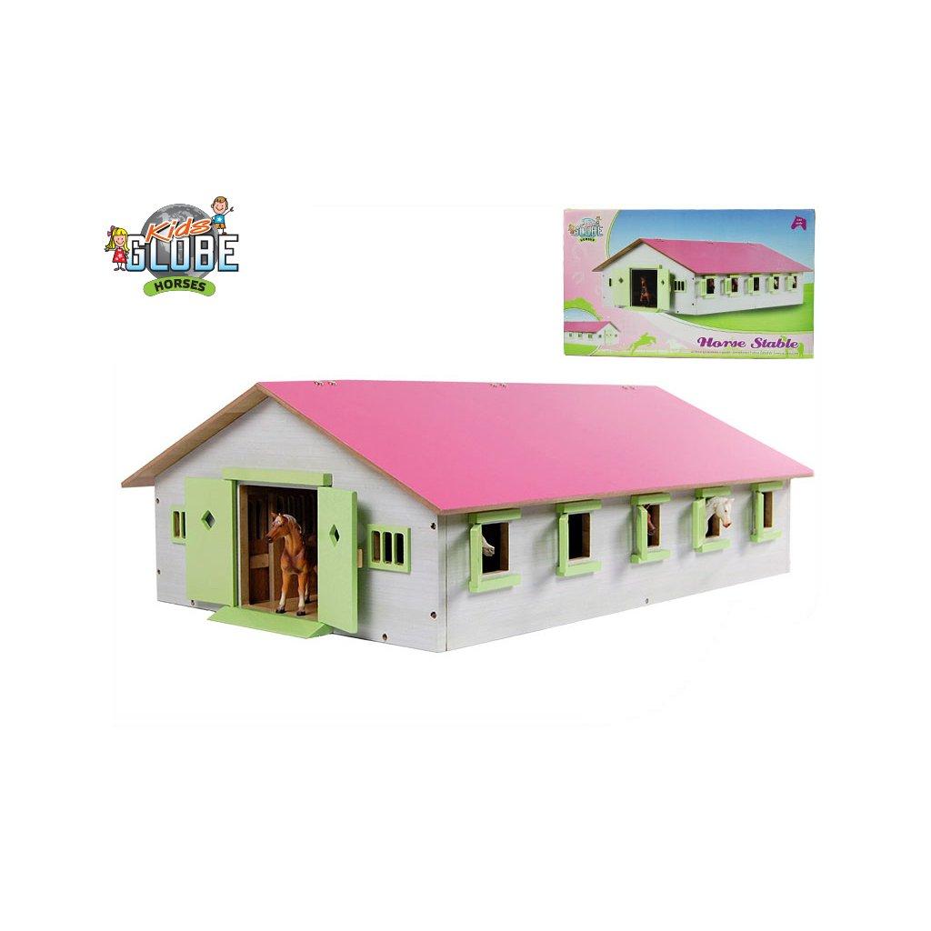 Stajňa pre kone drevená 62x43x22cm 1:32 ružová v krabičke