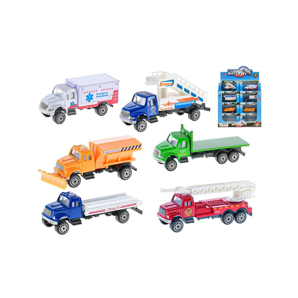 Auto nákladné 9,5cm kov 1:64 voľný chod  v krabičke